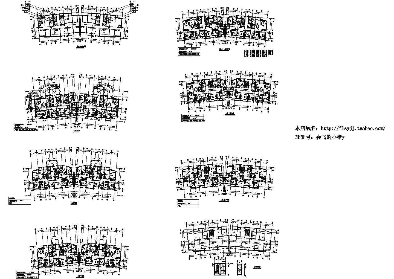 33层一梯两户住宅楼建筑施工图图片1