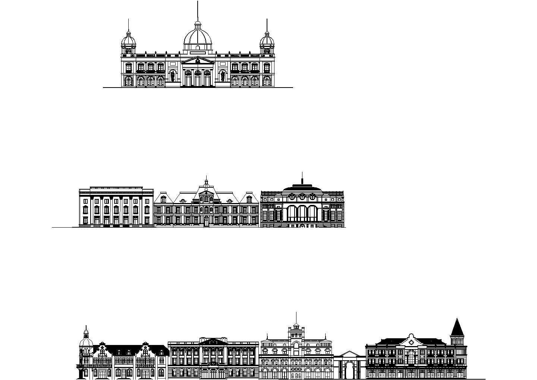 收集的经典欧式建筑立面图纸图片1