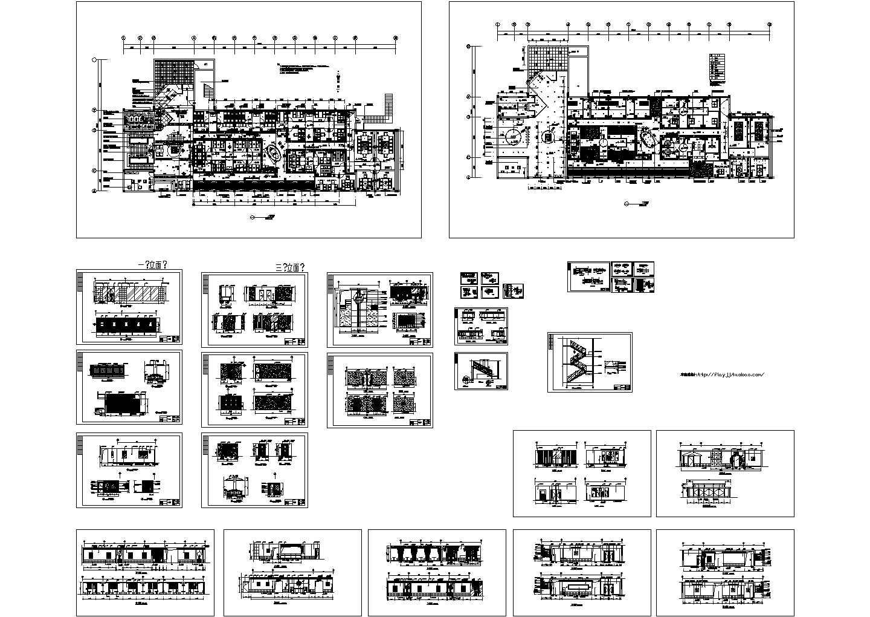二层五星级会所茶吧装修设计CAD图纸(长54米 宽26米 )图片1