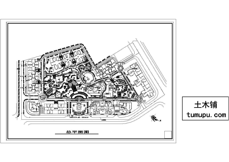 高层小区总平面设计cad图,共1张图片1