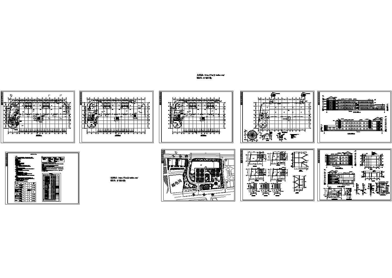 三层3176.5平米县幼儿园教学楼建筑设计图(含楼梯卫生间大样)图片1