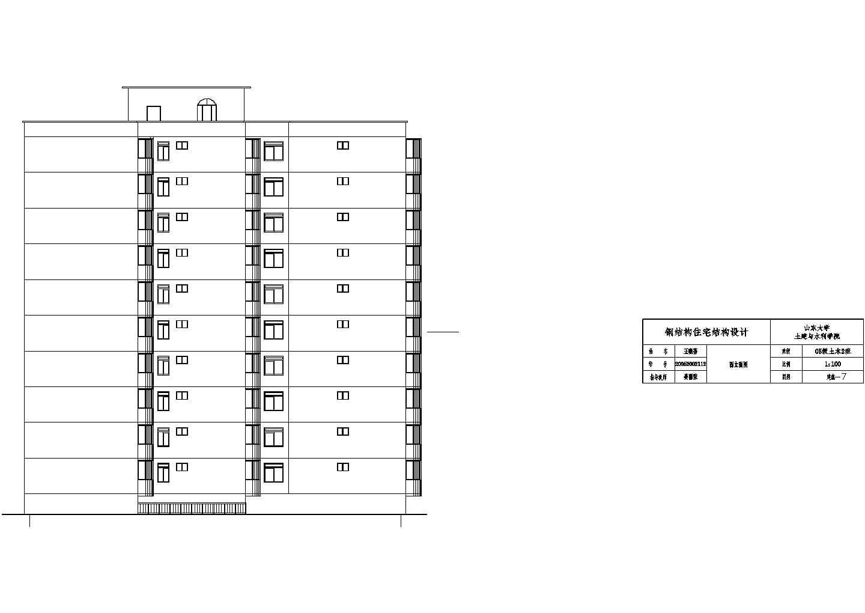 15120平米半地下室地上10层钢框架住宅建筑cad图纸图片1