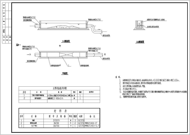 城市污水处理厂巴氏计量槽工艺图纸图片1
