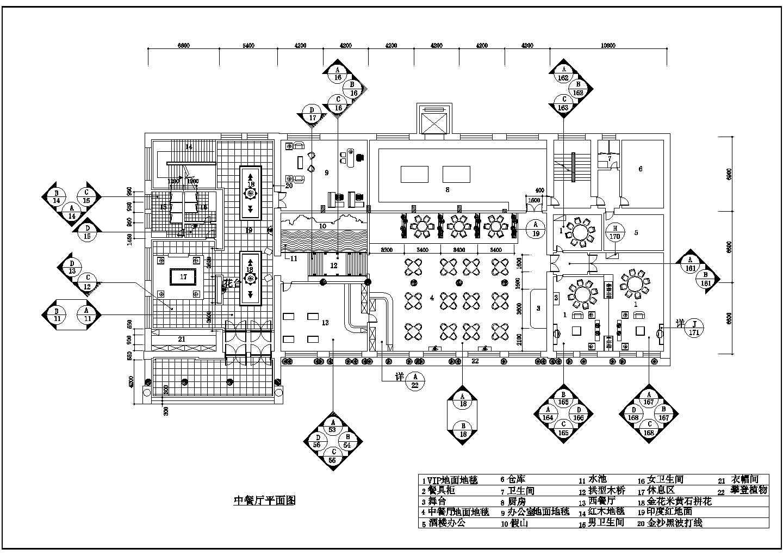 中餐厅整套平面施工cad图纸图片1