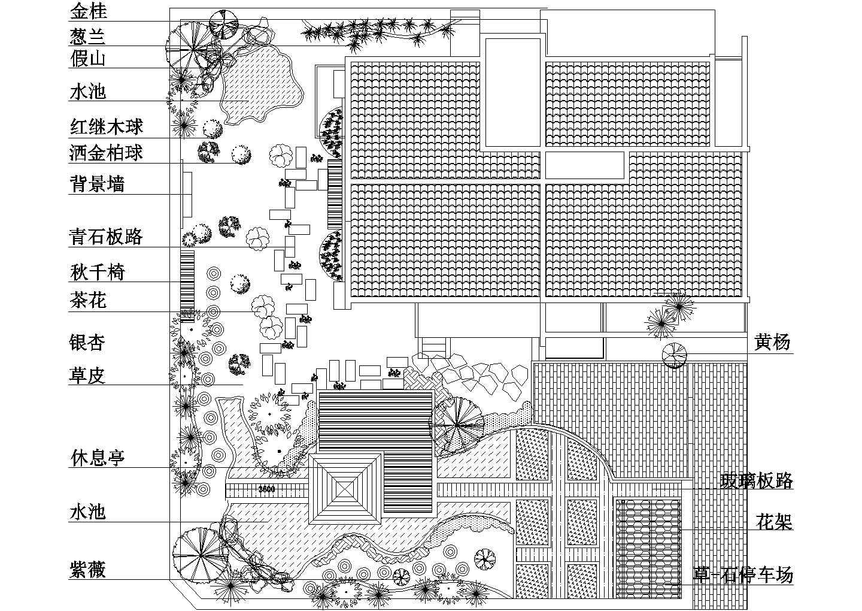 中式风格多层别墅CAD施工图(含景观庭院,室内布局,别墅立面,别墅su模型)图片1