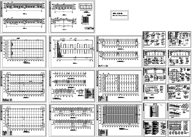 91x45m 单层轻钢结构厂房结构设计CAD施工图图片1