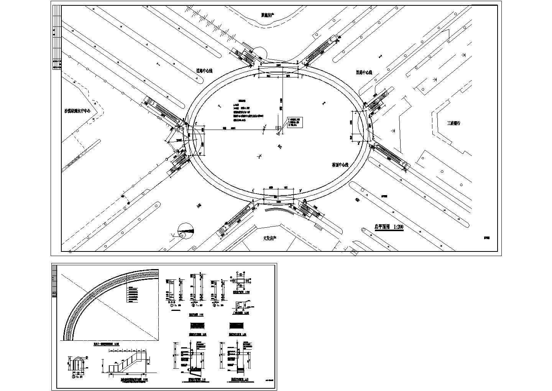 十字路口圆型人行天桥总平面设计施工图图片1