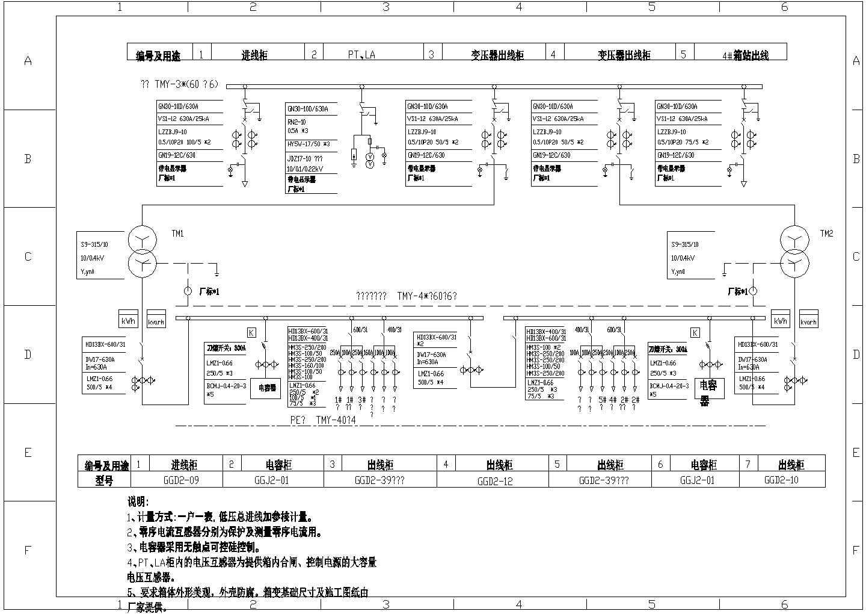 电站、变电所电气及设备电容器及箱变CAD图图片1