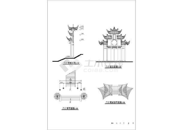 园林景区大门建筑设计图-图一