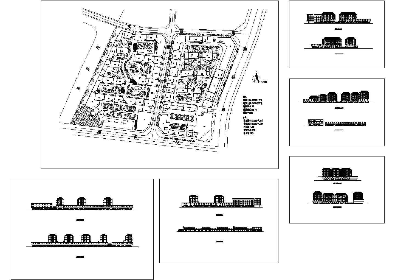 用地19740平米某县绿城花苑规划平面及建筑立面图图片1