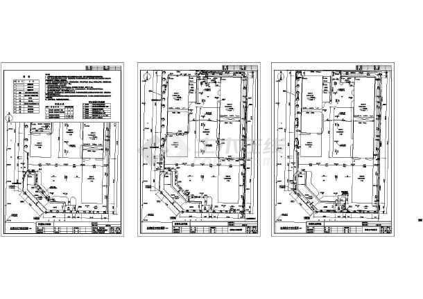 四川机电设备公司工程给排水管总平面建施cad图,共三张-图一