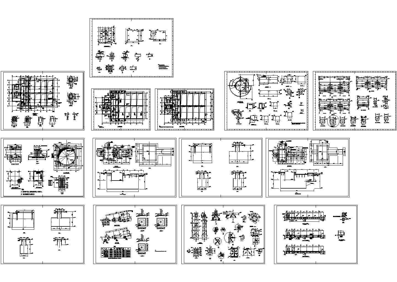 厂房设备基础结构设计cad图,共14张图片1