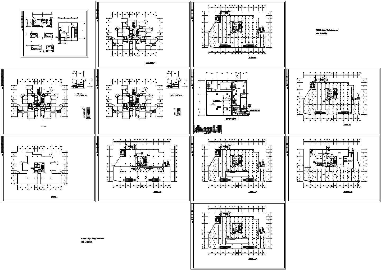 某地-1+21层商住楼各层给排水平面图图片1