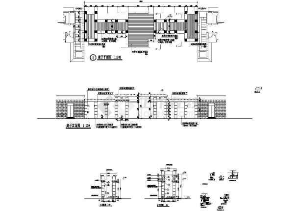 某西洋古典景观廊设计cad建筑施工图-图一