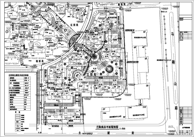 多层小区基地36000平米总户数884户总平面规划图图片1