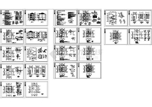 某300㎡3层别墅全套建筑结构施工图-图一