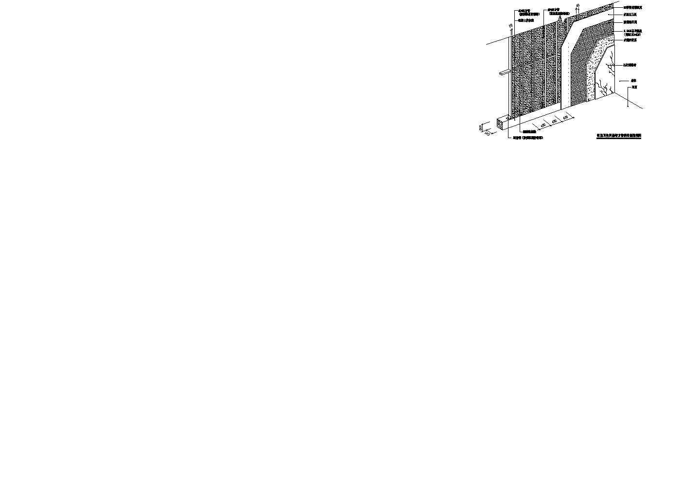 某客房卫生间隔墙方管钢骨架透视图图片1