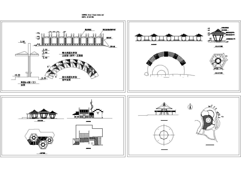河道景观亲水栈道处 河边小亭 CAD建筑设计施工图图片1
