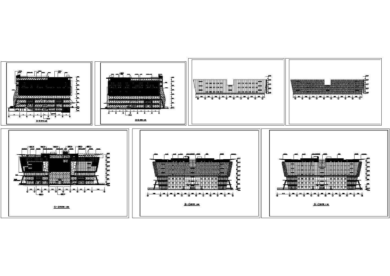 现代广场立面设计cad图,共7张图片1