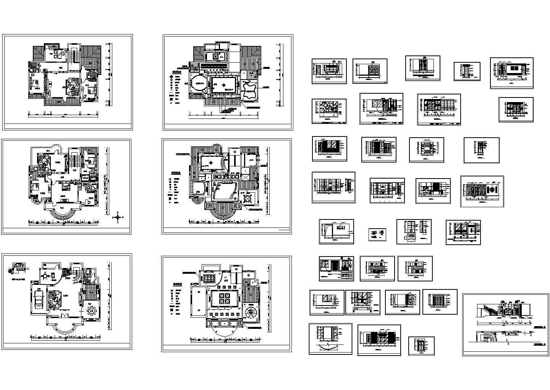 豪华别墅精装修设计cad图,共39张图片1