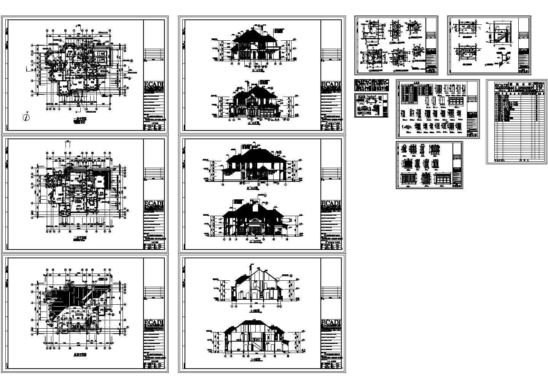 浦东别墅二层含屋顶平面图设计cad图纸图片1