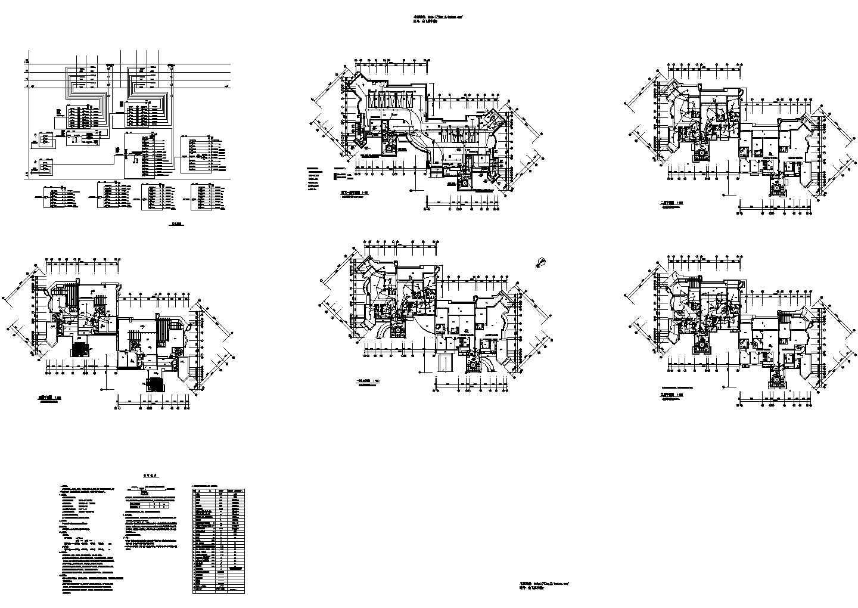 -1+4层3847.49平米12户框架高档住宅楼电施cad图纸图片1