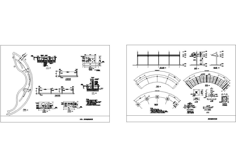 小区花架及景墙CAD施工图图片1
