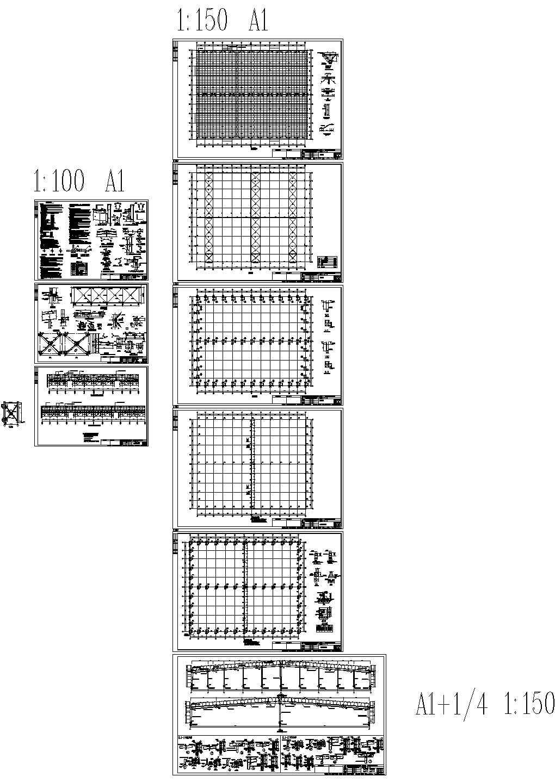 河南某单层纸业钢结构厂房建筑结构电气水施工图纸(标注明细)图片1