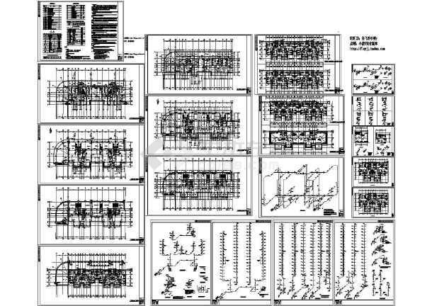 18层商住楼各层给排水消火栓平面建施cad图,共二十张-图一