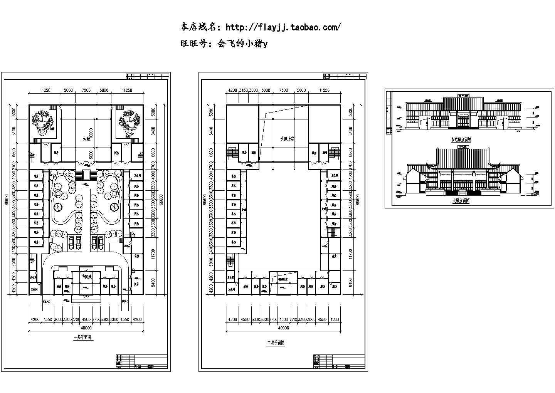 长66.6米 宽40米 二层韦陀殿建筑设计图(无屋顶平面图)图片1