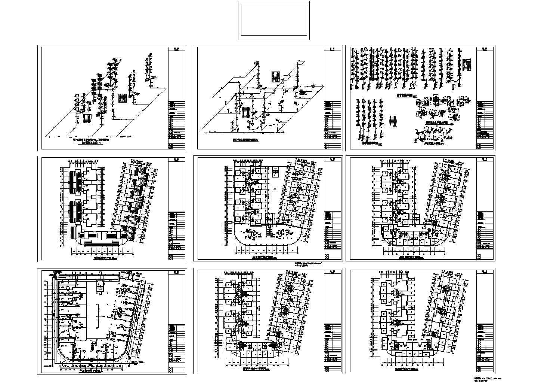 某地长50.1米 宽48米 7层U型住宅给排水设计CAD图图片1