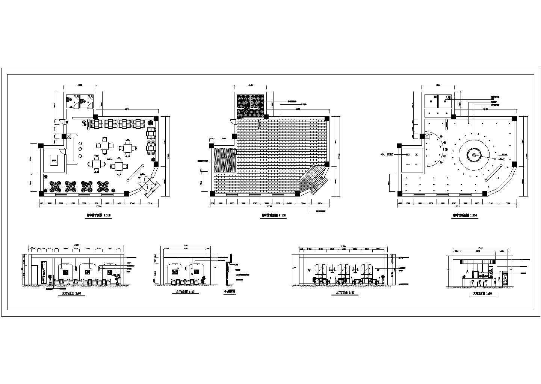 广场咖啡馆设计装修方案施工cad图,共七张图片1