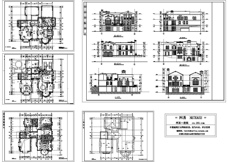 三层别墅建筑设计方案图,5张图纸图片1