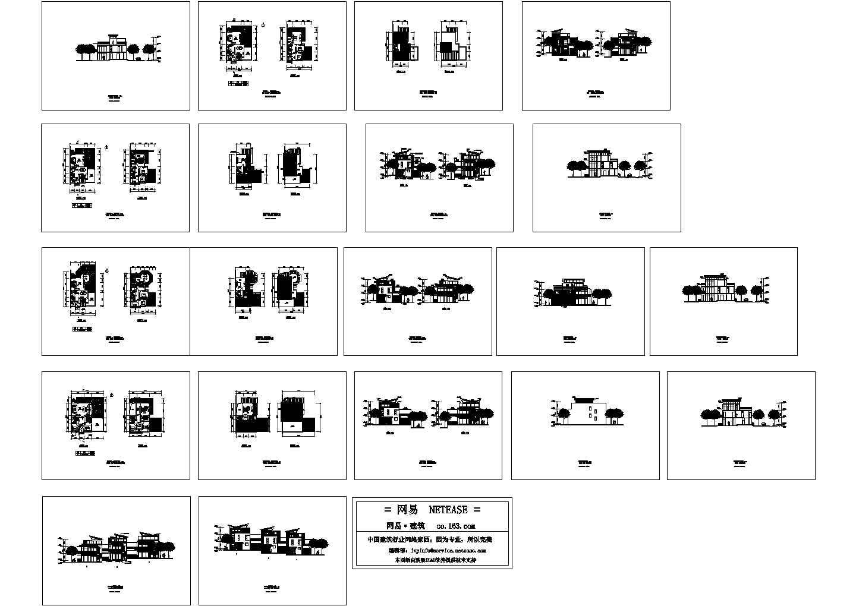 几套斜屋顶别墅CAD方案图图片1