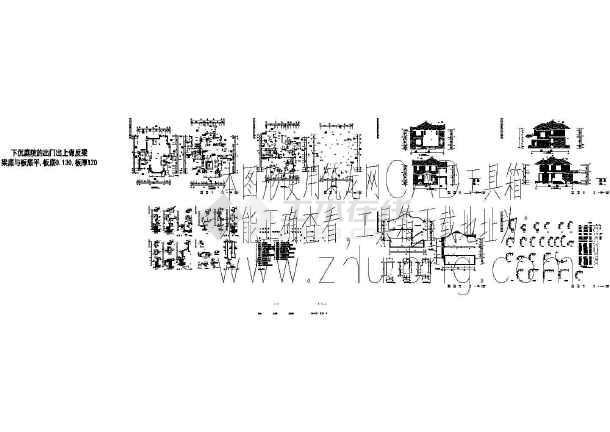 某402平方米 北方二层美式别墅建筑结构施工图(有效果图-图一