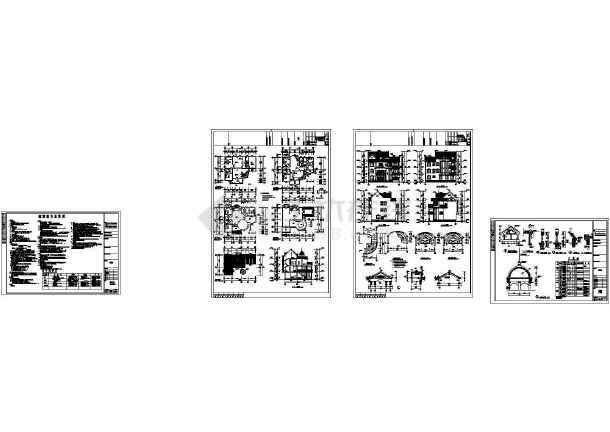 528平方米某三层欧式度假别墅建筑施工图,含效果图-图一