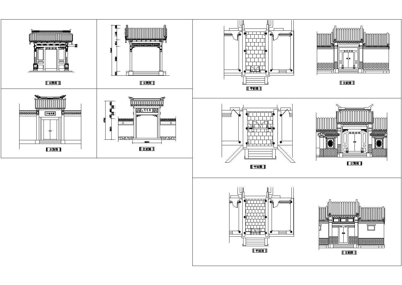 古典建筑立面设计cad图,共一张图片1