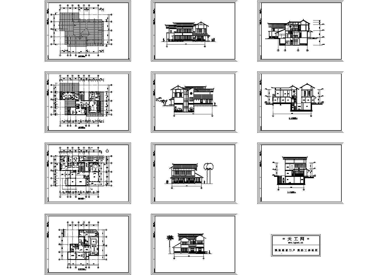 B型日式别墅住宅楼装修设计建施cad图,共十一张图片1