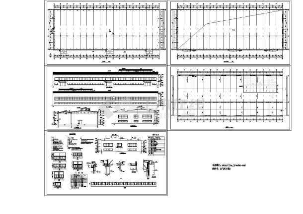 单层3497.7平米混凝土排架结构连跨厂房建筑施工图【平立剖 节点窗大样 目录 说明】-图一