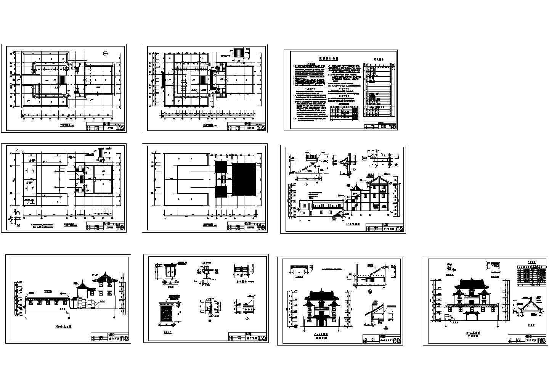 三层框架结构斯古拉寺设计cad图,含设计说明图片1