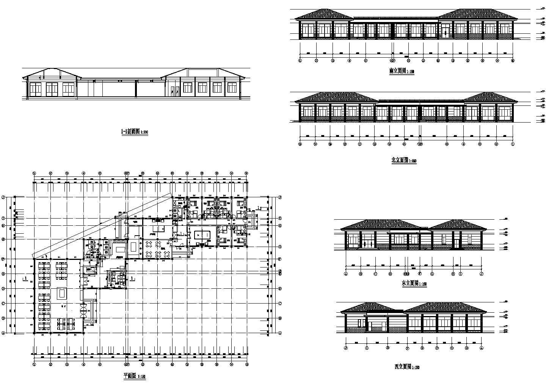 单层餐厅娱乐宿舍综合建筑方案图(长51.75米 宽33米)图片1