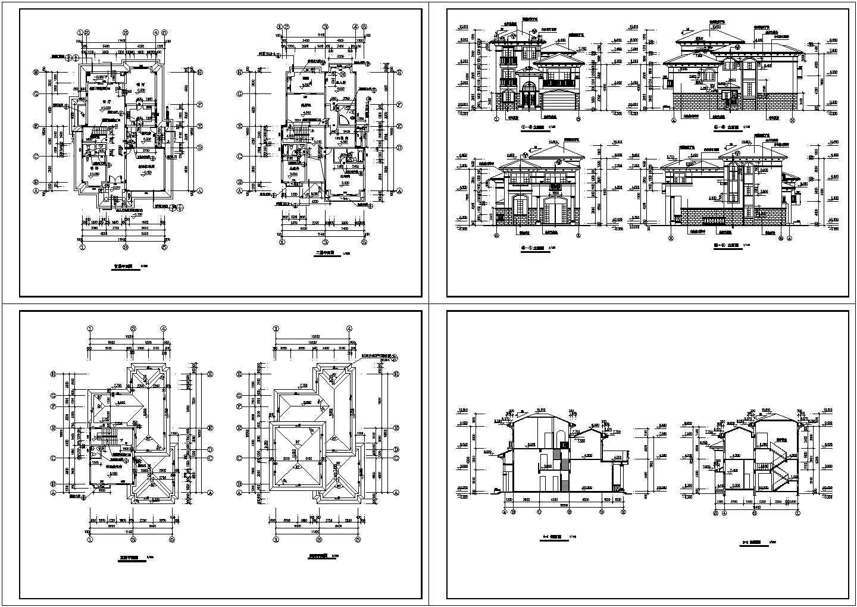 3层欧式别墅装修设计建施cad图,共四张图片1
