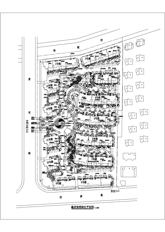 鑫唐佳苑规划总平面cad图,共1张图片1