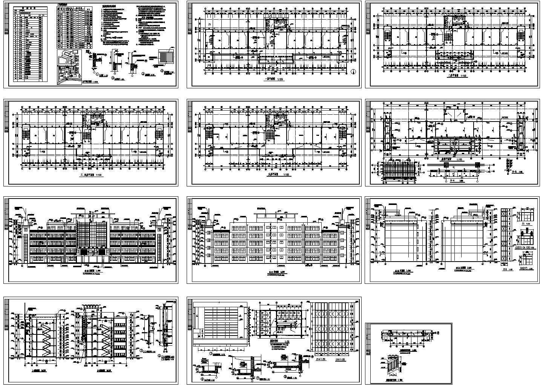 4165�O五层市级中学教学楼建筑施工图图片1