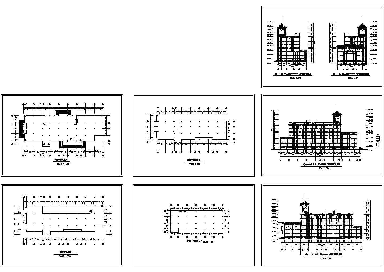 六层宾馆装修平面定位施工cad图,共七张图片1