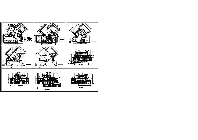 北京某经典三层别墅全套施工设计cad图纸,共9张图片1