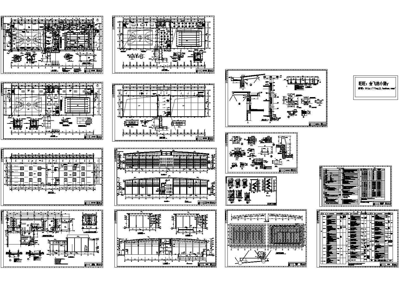 4240.25平米三层框架结构体育馆建筑施工cad图,共十四张图片1