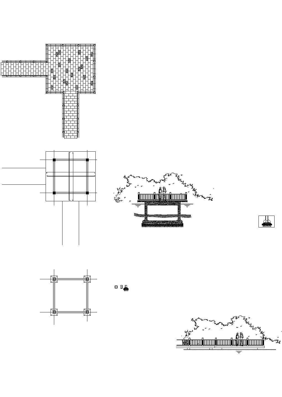 景观桥 湖心平台CAD设计图图片1
