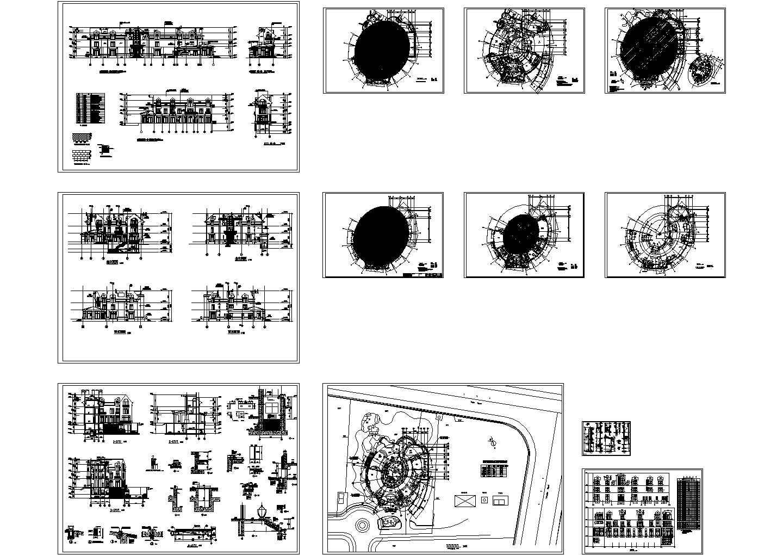 某1550平米三层英式别墅建筑结构整套图纸图片1