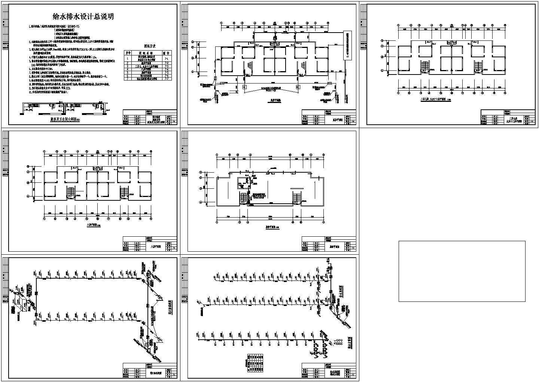 13层1梯2户2单元住宅楼给排水设计图(长35.4米 宽9.9米)图片1